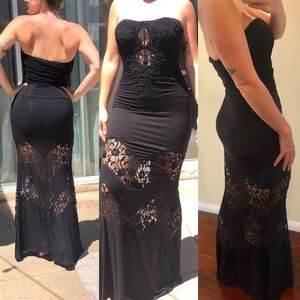 Maxi dress Sky black strapless lace detail